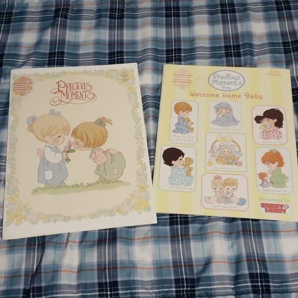 2 vintage Precious Moments cross stitch books lot